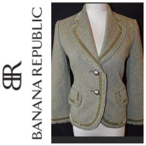 Banana Republic Green Tweed Velvet Trim Jacket